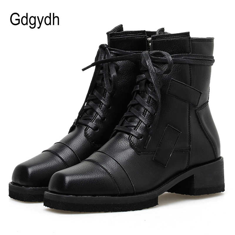 Gdgydh Yeni Varış Bahar Motosiklet Botları Sonbahar Serseri Çizmeler Bağlama Ayakkabı Kare Ayak Orta Topuk Gotik Siyah Deri Kaliteli
