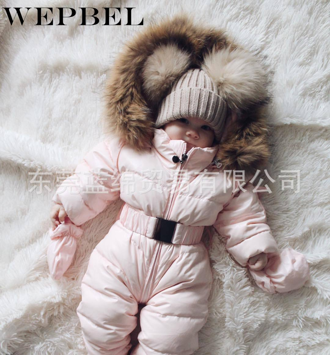 WEPBEL Baby Girl Fashion Parka Fur Hooded Autumn Winter Casual Fashion Warm Long Jumpsuit Thick Babies Parkas Down