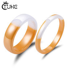 2019 New Brand Design Handmade Healthy Ceramic Ring Inter-color Yellow Jewelry New Novelty Fineger Ring Anniversary Ring(China)