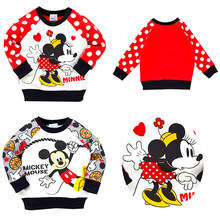 Automne enfants décontracté Minnie velvetting pull bébé garçons filles Mickey Mouse SpiderMan dessin animé pull enfants à manches longues vêtements(China)