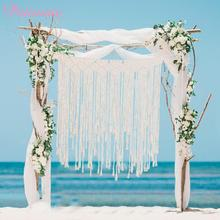 PATIMATE  Macrame Curtain Tapestry Rustic Wedding Photo Backdrop Decoration Romantic Party Bride Favors