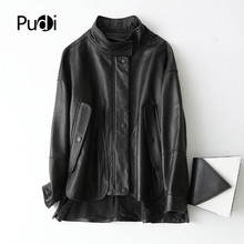 Jacket Real-Leather Coat Female Black Winter Women Pudi Girl A69022