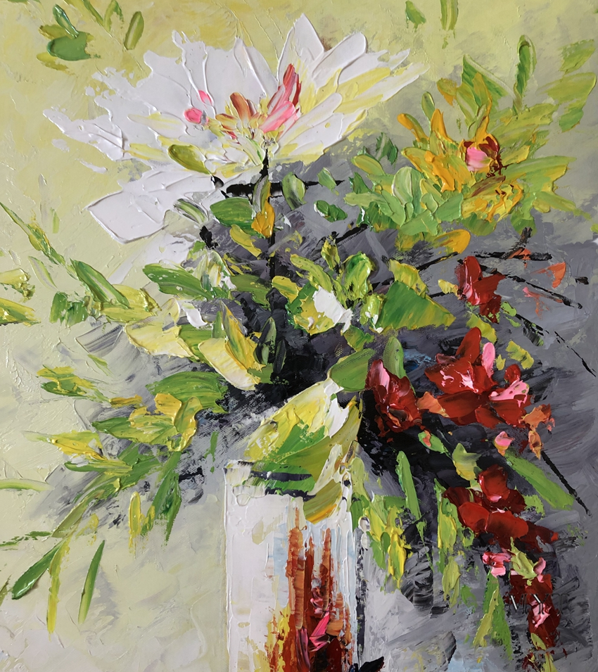 Image 5 - Texture Thick Vase Flower Handmade Oil Painting Canvas Wall Art Oil Paintings Canvas Knife Art Home Decoration Wall PicturesPainting & Calligraphy   -