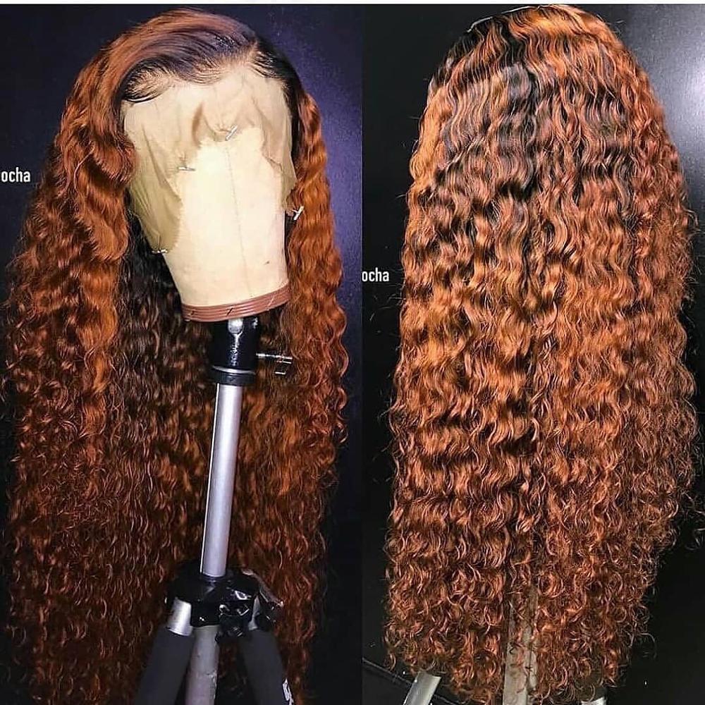 Sterly ombre colorido encaracolado parte do meio do laço frente perucas de cabelo humano 1b/30 4/27 99j peruca encaracolada do laço brasileiro com cabelo do bebê remy