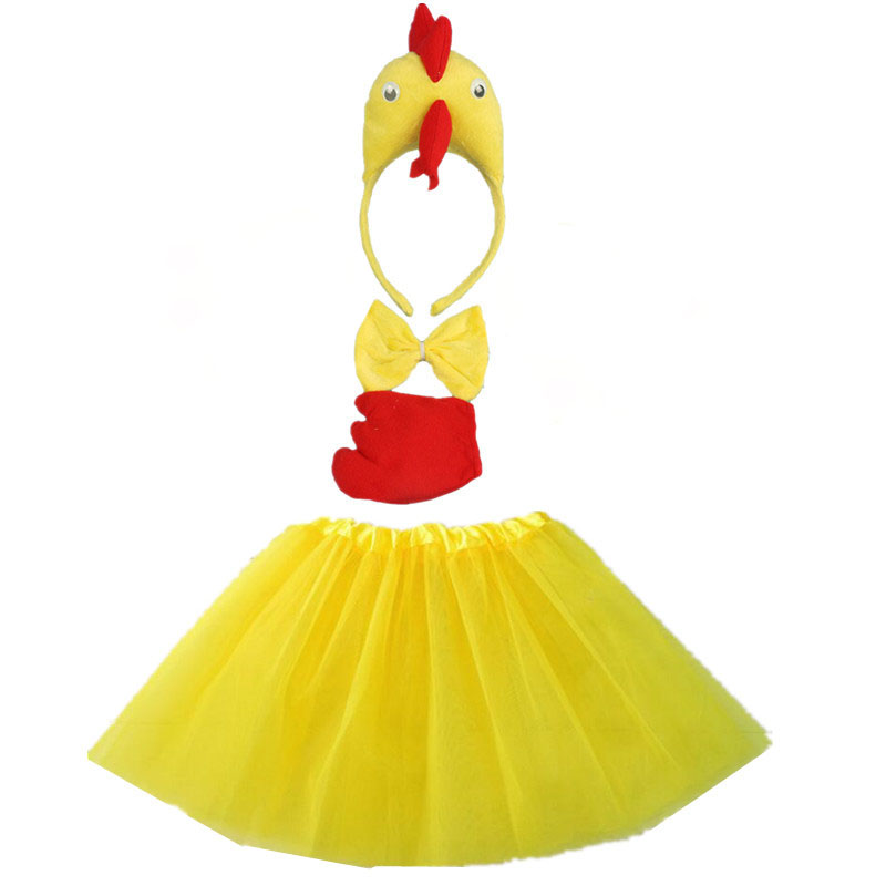 Kids Children Girl Chicken Duck Cosplay Headband Tutu Skirt Tie Tail Set Birthday Party Props Costume Halloween Carnival