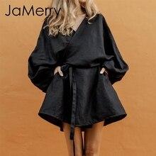 JaMerry Japanese style v-neck women cotton dress Solid sashe