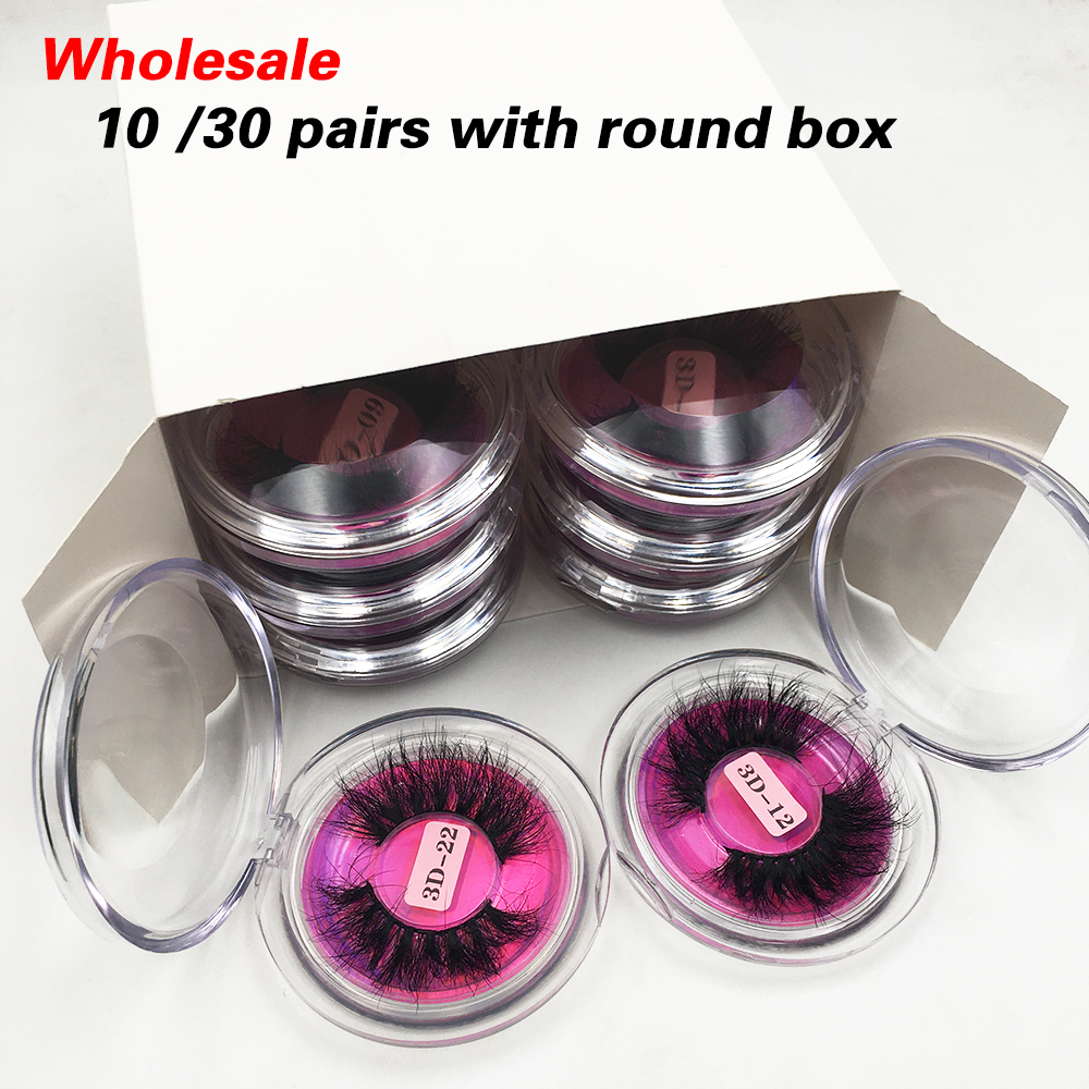 10/30/50 Pairs Fluffy Messy Mink Eyelashes Wholesale Lashes With Box 25mm Mink Lashes Bulk Long 3d False Eyelashes Makeup Lashes
