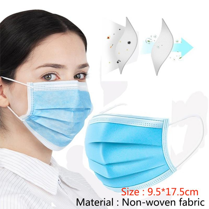Hot Sale 10/50PCS Disposable Face Mask Dust Masks 3 Ply LOT Solid Color Face Mouth Masks Non Woven For Universal Dust Mask