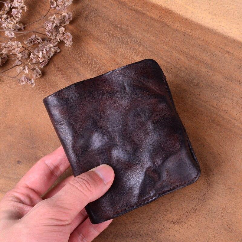 AETOO ручной работы винтажный плиссированный короткий кожаный бумажник первый слой кожаный мужской и женский вертикальный простой Молодежный тренд тонкий - Цвет: 2