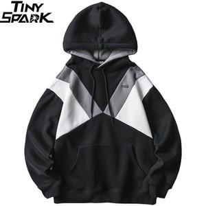Image 3 - 2019 Streetwear Männer Hoodie Sweatshirt Harajuku Winter Fleece Hoodie Pullover Hip Hop Farbe Block Baumwolle Herbst Beiläufige Hoodies