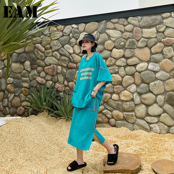 [EAM]  Half-body Skirt Printed Two Pieces Suit New Round Neck Half Sleeve Loose Women Fashion Tide Spring Autumn 2020 1U074