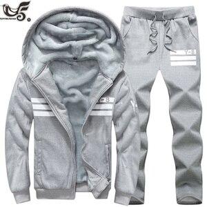Image 5 - Big Size 7XL 8XL 9XL Brand Men Sets Autumn winter Sporting Suit Sweatshirt + Sweatpants Mens Clothing 2 Pieces Sets Tracksuit