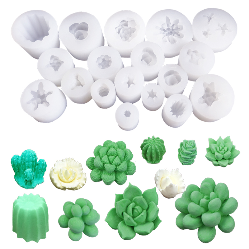28 Styles 1PCS Succulent Plants Wax Candle Silicone Mold Cactus DIY UV Resin Cupcake Epoxy Sugar Plaster Clay Soap Mould C390