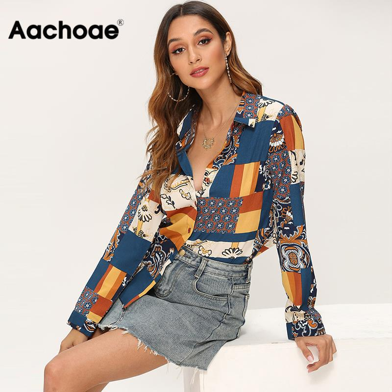 2020 Patchwork Blouse Shirt Women Turn Down Collar Print Blouses Vintage Long Sleeve Casual Office Shirts Ladies Fashion Tops