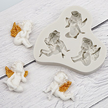 3 Small Angel Shape Liquid Silicone Mold Fondant Mold Cake Decorating Tools Chocolate DIY Cooking D166