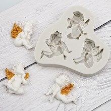 3 الملاك الصغيرة شكل السائل قالب من السيليكون قالب فندان أدوات تزيين الكعكة الشوكولاته لتقوم بها بنفسك الطبخ D166