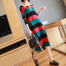 Classic Print Striped Brand Fall Dress Women Turn-down Collar Elegant Long Dress Ladies Knitted Sweater Autumn Dress Plus Size s xxl plus size corset blue knitted sweater dress women turn down collar casual elegant dress women midi long sleeve dresses