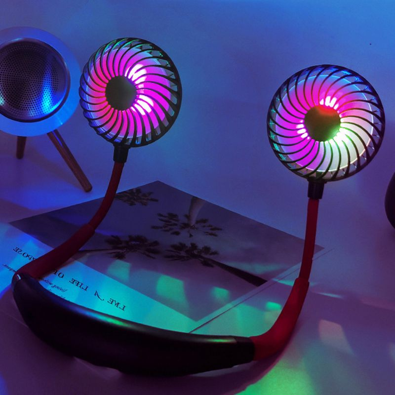 <font><b>3</b></font> Speed Hand Free Neck Fan Personal Fans <font><b>2000mah</b></font> Rechargeable USB Fan with Touch Switch Colorful LED Light Wearable Sports Fan image