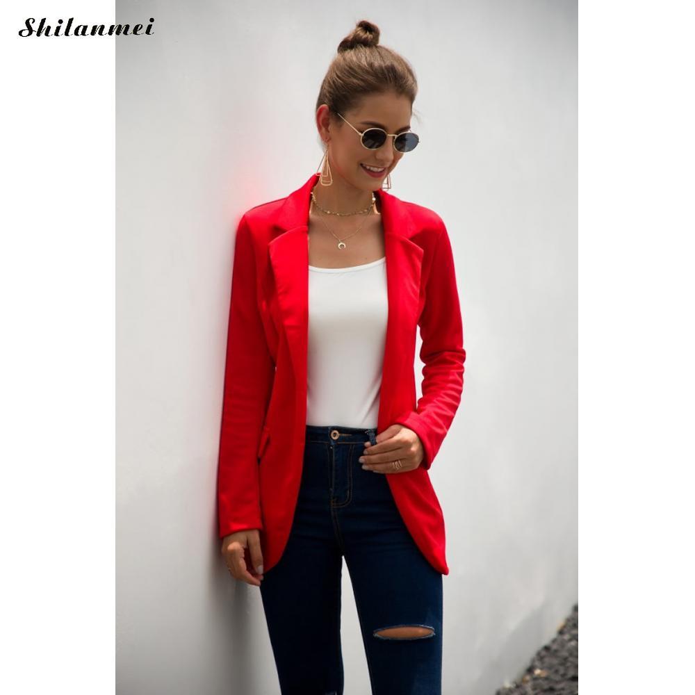 Long Sleeve Outwear Ladies Red Black Slim Blazer 2019 Solid Women Blazer Suit Coat Autumn Business Blazer Jacket Feminino Coats