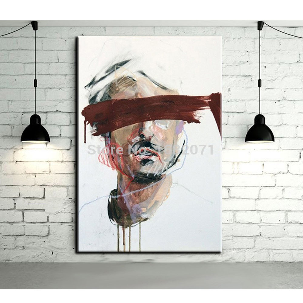 Free Shipping High Quality Hand Painted Blind Person Oil Painting For Wall Decorative Abstract Man Portrait Oil Painting