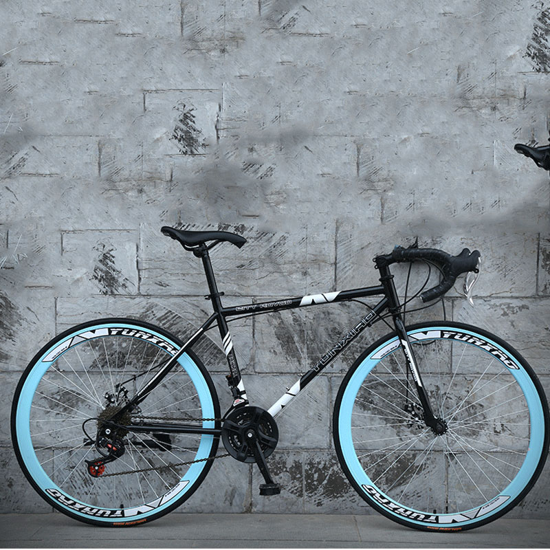 Road Bike 26 Inch 24 Speed Curved Fixed Gear Double Disc Brakes Man And WomenStudents Broken Wind Bicycle