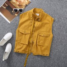 Summer Women Solid Color Sleeveless Vest Safari Cargo Denim Jacket Pockets Loose Fit Female Casual Outwear Waistcoat Gilet 3XL(China)