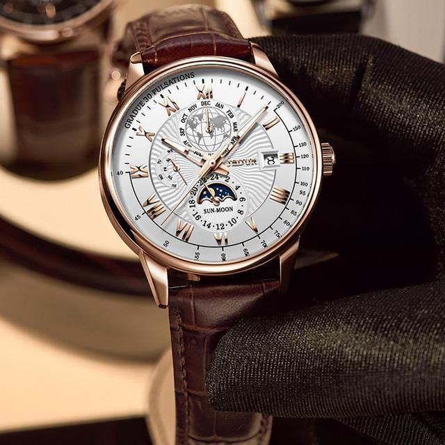 Men Mechanical Watch Top Brand Luxury Automatic Watch Leather Waterproof Sports Moon Phase Wristwatch relogio masculino 5