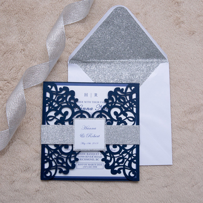 (50 pieces/lot) Laser Cut Navy Blue Wedding Invitation Card With Silver Glittery Belt Customized Birthday Invitations IC139