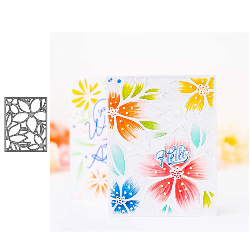 JC Flowers Rectangle Metal Cutting Dies Scrapbooking Craft Cut Die Stencil Background Handmade Tool Album Paper Card Make Decor image