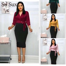 New Spring Office Lady Dress Women African Clothes Vintage Patchwork Turn down Bow Pencil Dress Evening Party Robes