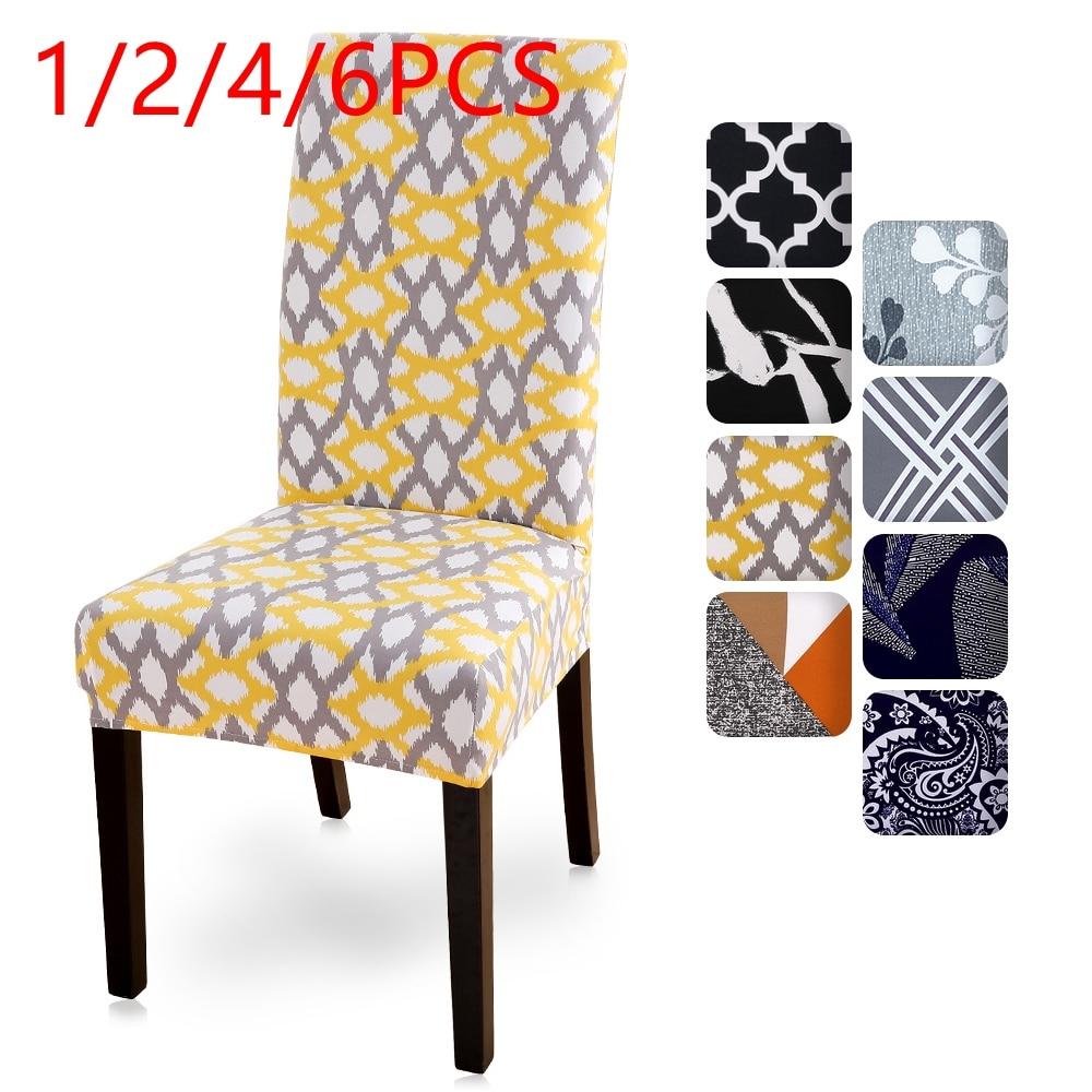 1/2/4/6 шт. печатных спандекс чехлы на стулья из стрейчевого эластичного Материала Универсальная накидка на кресло чехлов для Обеденная свадебный банкет в отеле|Чехлы на стулья|   | АлиЭкспресс