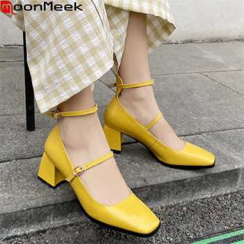 MoonMeek 2020 New arrival summer shallow women pumps fashion genuine leather buckle ladies shoes sweet party shoes black yellow