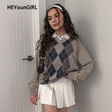 HEYounGIRL – pull à col en V pour femme, Style Preppy, Vintage, Argyle Plaid Y2K, mode coréenne, automne hiver