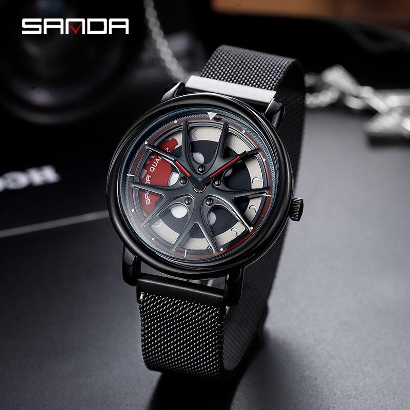 Image 2 - ساعة SANDA الرجالية الأعلى مبيعًا لعام 2020 ، ساعة أنيقة فاخرة ذات عجلات دوارة إبداعية ، ساعات بمشبك مغناطيسي ، هدية مثالية ، ساعة رجالية 1025ساعات الكوارتزالساعات -