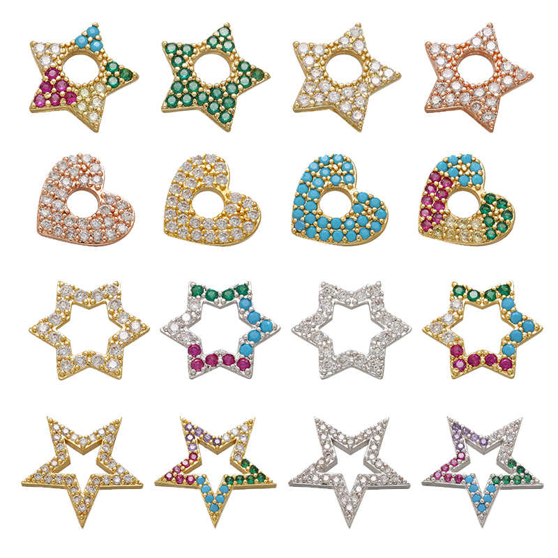ZHUKOU multicolor heart star CZ crystal earrings charms cute charms for jewelry making DIY handmade pendant Supplies wholesale
