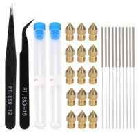 Kit de limpieza de boquilla de Punta Mk8, esd-15/12 pinzas, boquillas de 0,4mm, pieza de extrusión de cobre, aguja de limpieza de acero inoxidable de 0,4mm x 10
