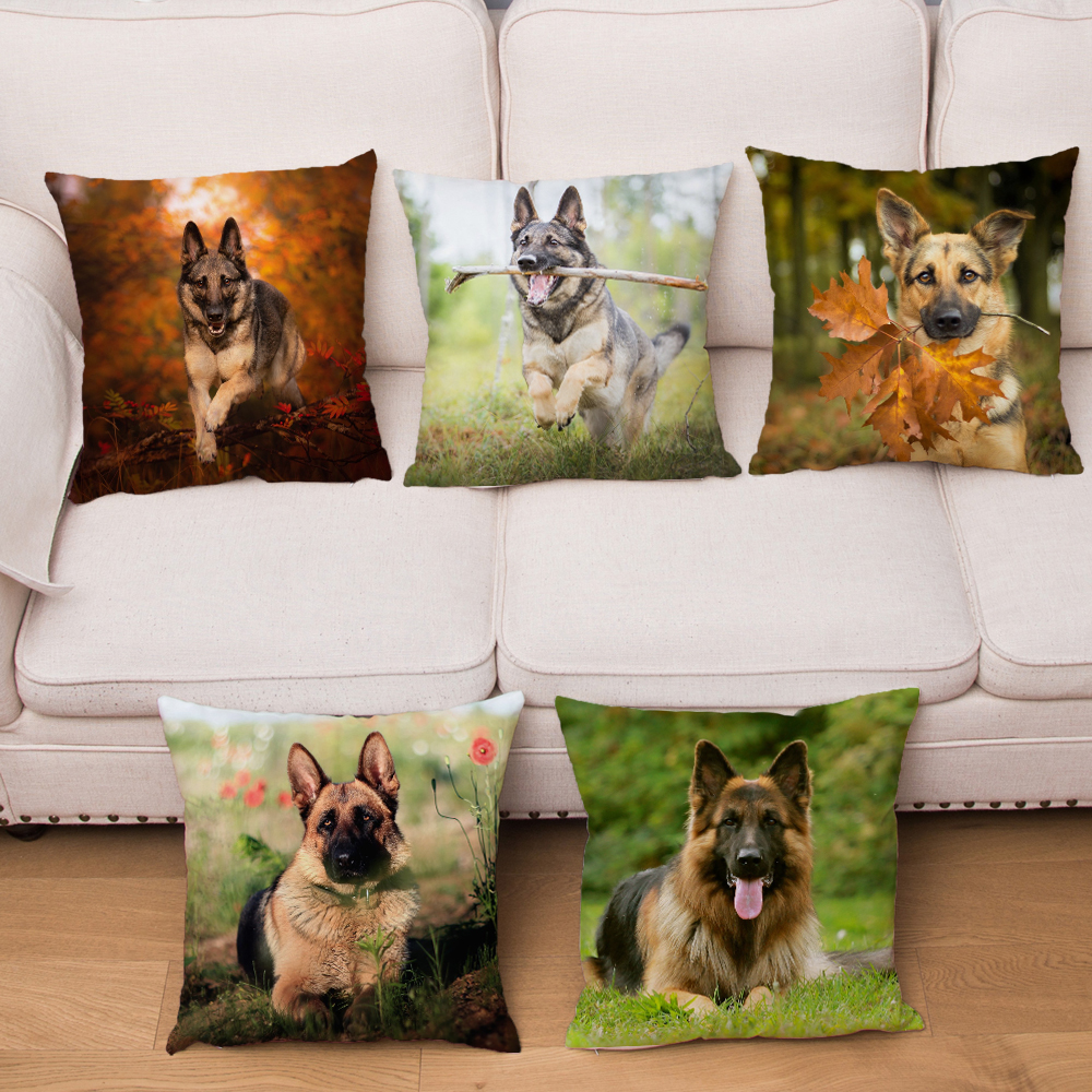 German Shepherd Dog Pillow Cover Super Soft Short Plush Cushion Covers Pillows Cases For Sofa Home Car Decor Pet Pillowcase