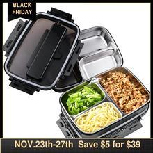 Portatile In Acciaio Inox 304 Bento Box con 3 Scomparti Lunch Box A Tenuta di Riscaldamento A Microonde Contenitore di Alimento Da Tavola Adulti