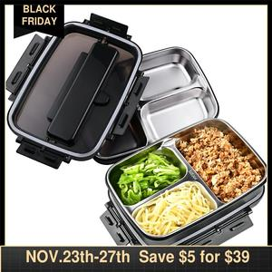 Image 1 - Portatile In Acciaio Inox 304 Bento Box con 3 Scomparti Lunch Box A Tenuta di Riscaldamento A Microonde Contenitore di Alimento Da Tavola Adulti