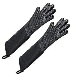 Bardzo długi profesjonalne silikonowe rękawice kuchenne  żaroodporne rękawice kuchenne z wewnętrzną bawełną do kuchni  grilla  pieczenia  grill bla|Rękawice do użytku domowego|   -
