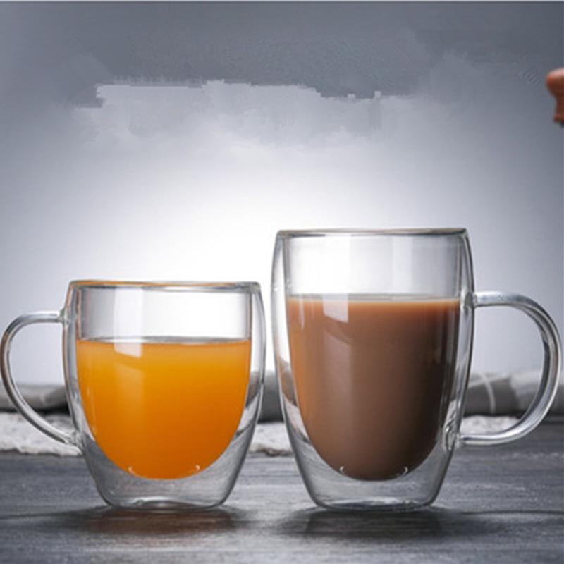1 Pcs Double Wall Glass Cup Heat resistant Tea Coffee Cup Handmade Creative Beer Mug Tea Glass Whiskey Glass Cups Drinkware|Transparent|   - AliExpress