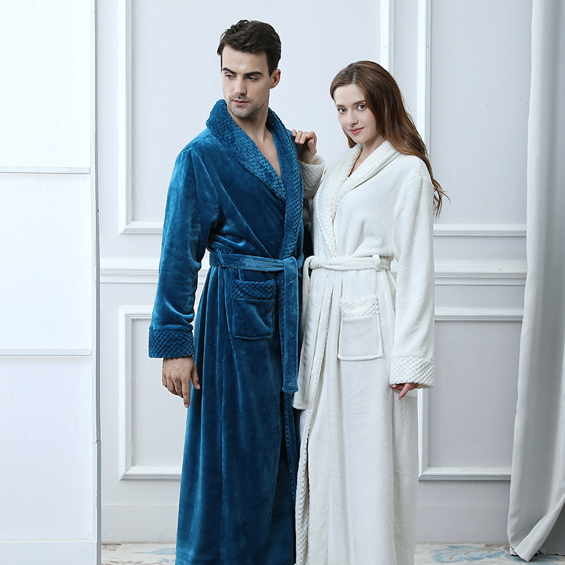 Extra Long Plus Size Winter Thick Warm Flannel Coral Fleece Waffle Kimono Bathrobe Men Women Luxury Dressing Gown Male Bath Robe
