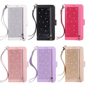 Image 5 - ための高級革財布iphone 12ミニ11プロマックスフリップブリンブリンケースiphone x xs最大xr 6 6s 7 8プラスジッパーカードスロットカバー