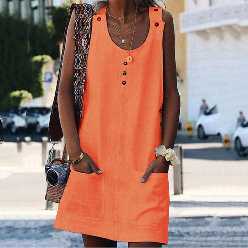 Fashion Wild Ladies Summer Dress Pop Style Pocket Buttonplus Size Color Dress Casual Dress