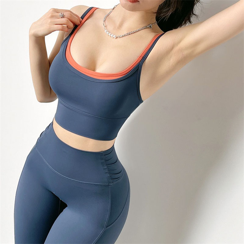 Sexy Fitness Sports Bras Women Crop Top Yoga Push Up With Removable Two Color Workout Soft Nylon Breathable Vest Sport9s
