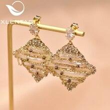 XlentAg Original Handmade Geometric Natural Pearl Drop Earrings Pave Zircon For Women Luxury Fine Jewelry Anillos Mujer GE0694