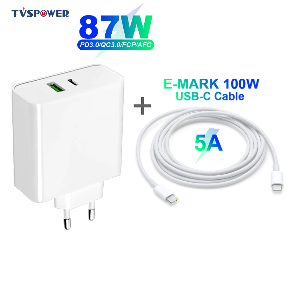 87W 65W USB-C Power Laptop <font><b>Adapter</b></font> Replacement <font><b>AC</b></font> Supply Charger for MacBook Air Pro 15 Inch Xiaomi/Huawei/ASUS (USB-C Cable 5A) image