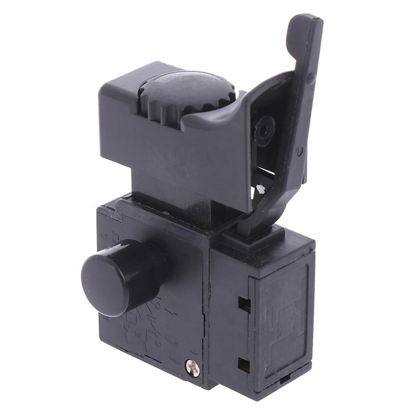 Siyah yeni 1 adet FA2-6/1BEK kilidi güç aracı elektrikli matkap hız kontrolü tetik düğmesi anahtarı 6(6)A 250V 5E4