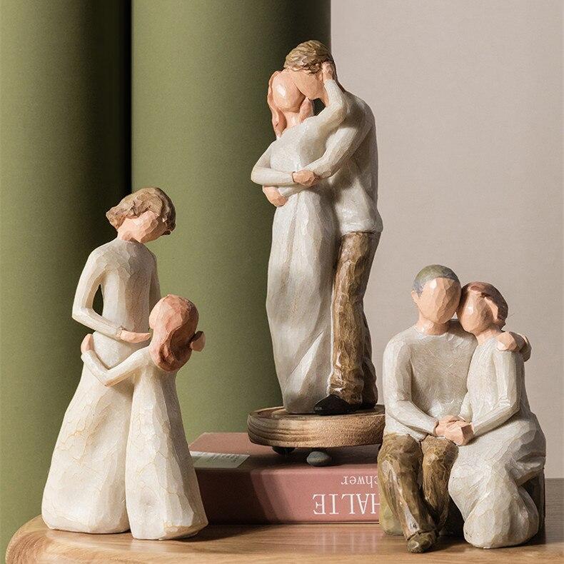 Dia das mães aniversário natal presente de casamento nórdico decoração para casa pessoas modelo sala de estar acessórios da família estatuetas artesanato