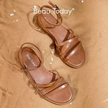Women Sandals Ankle-Buckle-Strap Gladiator Genuine-Cow-Leather Flat-Shoes Beautoday Beach